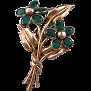 1941 Trifari 'Pat Pend' Double Blossom Unfoiled Rhinestone Flower Fur Clip - Design Patent