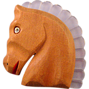 Hand Carved Wooden Horse Pin with a Lucite Mane - Book Reference