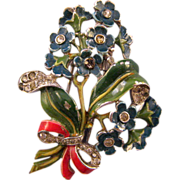 1940 Trifari Enameled Blue Multi-Flower Bouquet Pin Clip - Design Patent