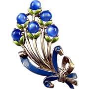 Coro Deep Blue Moonglow Floral Bouquet Brooch