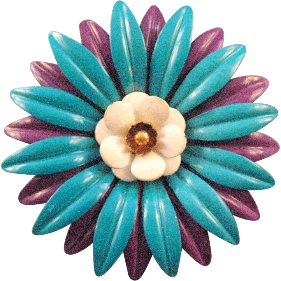 1960s Blue and Purple Enameled Metal 'Flower Power' Pin