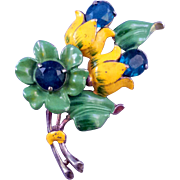 Colorful Vintage Green and Yellow Enameled Flower Brooch with Blue Rhinestone Accents