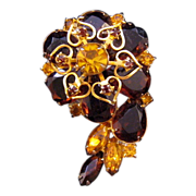 Shades of Amber Swirling Brooch - Hearts and Rhinestones