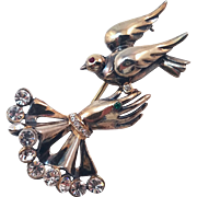 Vintage Jolle Sterling Ruffled Cuff Hand Holding Bird Pin