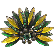 Green and Yellow Japanned Setting Fan Brooch