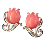 Silvertone and Pink Plastic Tulip Earrings