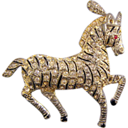 Coro Pave' Rhinestone Prancing Circus Zebra Brooch
