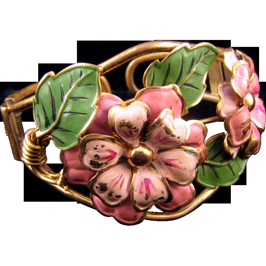 Huge Enameled 1930s Clamper Bracelet - Pink Flowers and Green Leaves