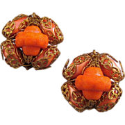 Goldtone Filigree and Orange Bead Earrings