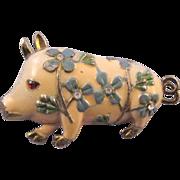 Enameled Flowered Pig Figural Brooch