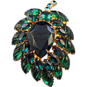 Stylized Green Rhinestone Leaf with Diagonal 'Cut' Specialty Navettes