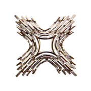 Trifari Textured Silvertone Square Cross Pin