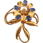 Goldtone Stylized Flower Pin Clip with Faux Pear Center
