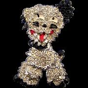 Silvertone and Black Enameled Figural Doggie Brooch - Head Swivels