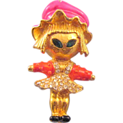 Goldtone Little Girl Brooch in Hot Pink Dress and Cap