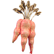 Enameled Bunch of Carrots Figural Pin