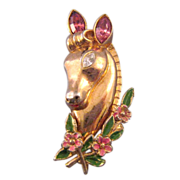 Coro 1948 'Victor' Horse Head Pin with Floral Wreath - Ad Reference