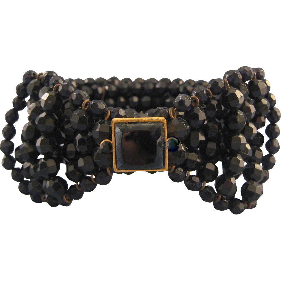 Cadoro Memory Wire Black Beaded Bow Tie 'Dog Collar' Necklace