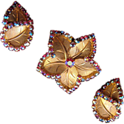 AB Red Rhinestone Rimmed Star-Shaped Leaf Pin and Earrings