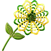 Green and White 1960s Enameled Pierce Work Petaled Floral Brooch