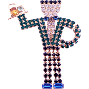 Goldtone and Rhinestone Waiter Pin - Book Reference