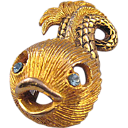 Goldtone Textured Fish Brooch - Cheeky and Sinuous