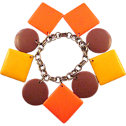 Large Plastic Geometric Charm Bracelet in Autumn Tones