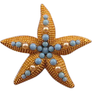 DeNicola Goldtone Starfish Pin - Blue and Faux Pearl Embellishments