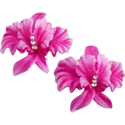 Huge Hot Pink Plastic Orchid Earrings with Rhinestone Accent