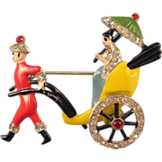 Coro Enameled Asian Rickshaw Brooch