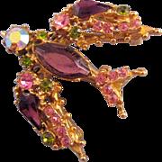 Florenza Trembler Bird Brooch in Shades of Purple