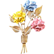 Goldtone Enameled Pastel Carnation Bouquet Pin