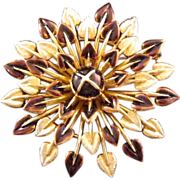 Trifari Starburst Stylized Floral Brooch - Goldtone and Brown