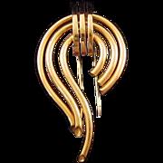 Monet Goldtone Retro Moderne Reverse Teardrop Fur Clip