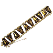 Wide Rhinestone Bracelet with Bronze Keystone Shape Stones