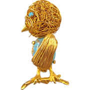 Coiled Wire Bird Pin with a Faux Turquoise Stone Belly