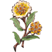 Enameled Creamy Ruffled Blossom Pin with Topaz Rhinestone Centers