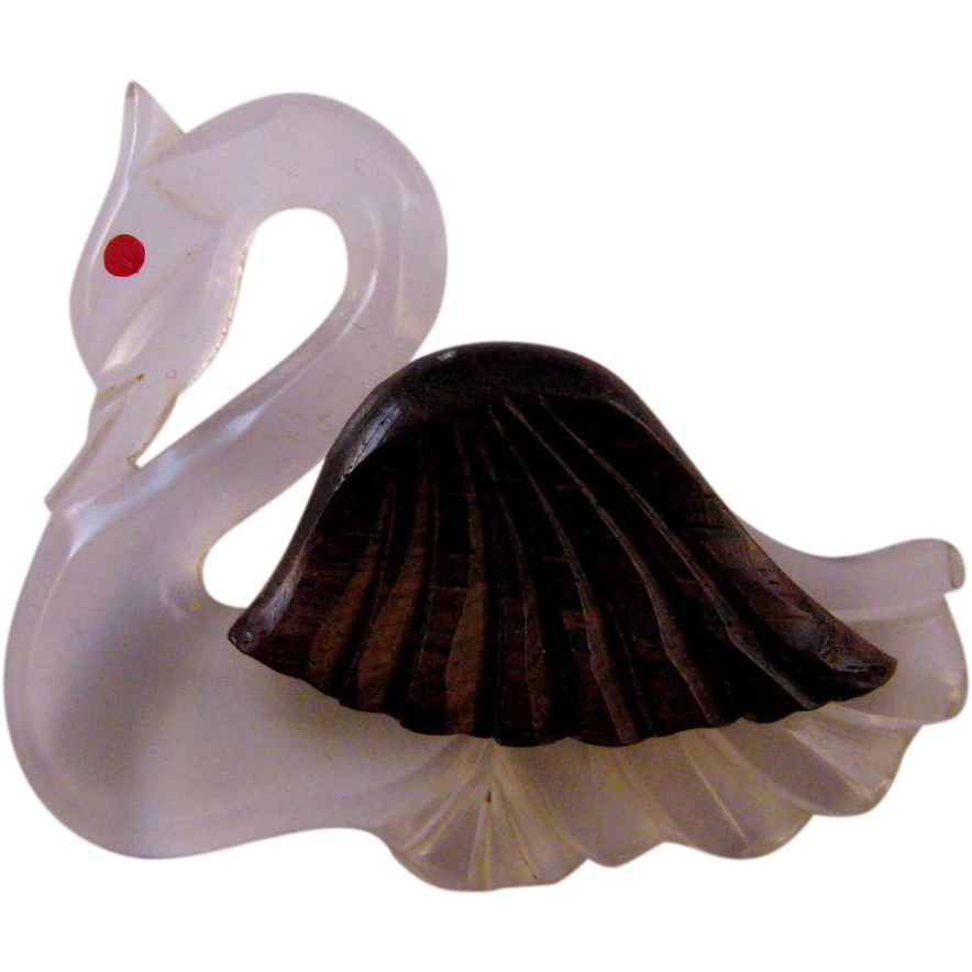 Lucite and Wood 1940s Swan Figural Brooch