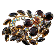 Large Unfoiled Rhinestone Pin - Curves and Flowers