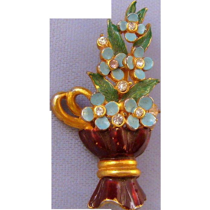 Hollycraft 1953 Blue Flowers in a Brown Vase Brooch