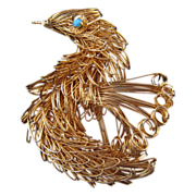 Goldtone Wire Work Figural Bird Pin - Aqua Rhinestone Eyes