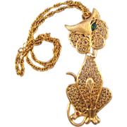 Large Double Articulated Goldtone Winking Cat Pendant Necklace