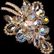 D&E aka Juliana Goldtone Stylized Leaf Pin in Clear Navettes with Crystal AB Dangles