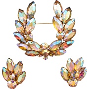Aurora Borealis Navette 'Laurel Wreath' Rhinestone Pin and Earring Set