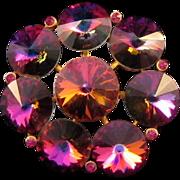 Weiss Purple-Pink Rivoli Stone Pin