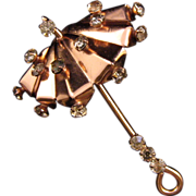 Goldwashed Sterling Dimensional Umbrella Pin with Rhinestone Accents