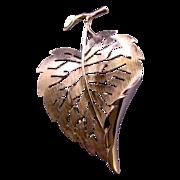 Trifari Textured Silvertone Midcentury Leaf Pin