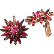 Magenta and Olivine Navette Rhinestone Starburst Earrings