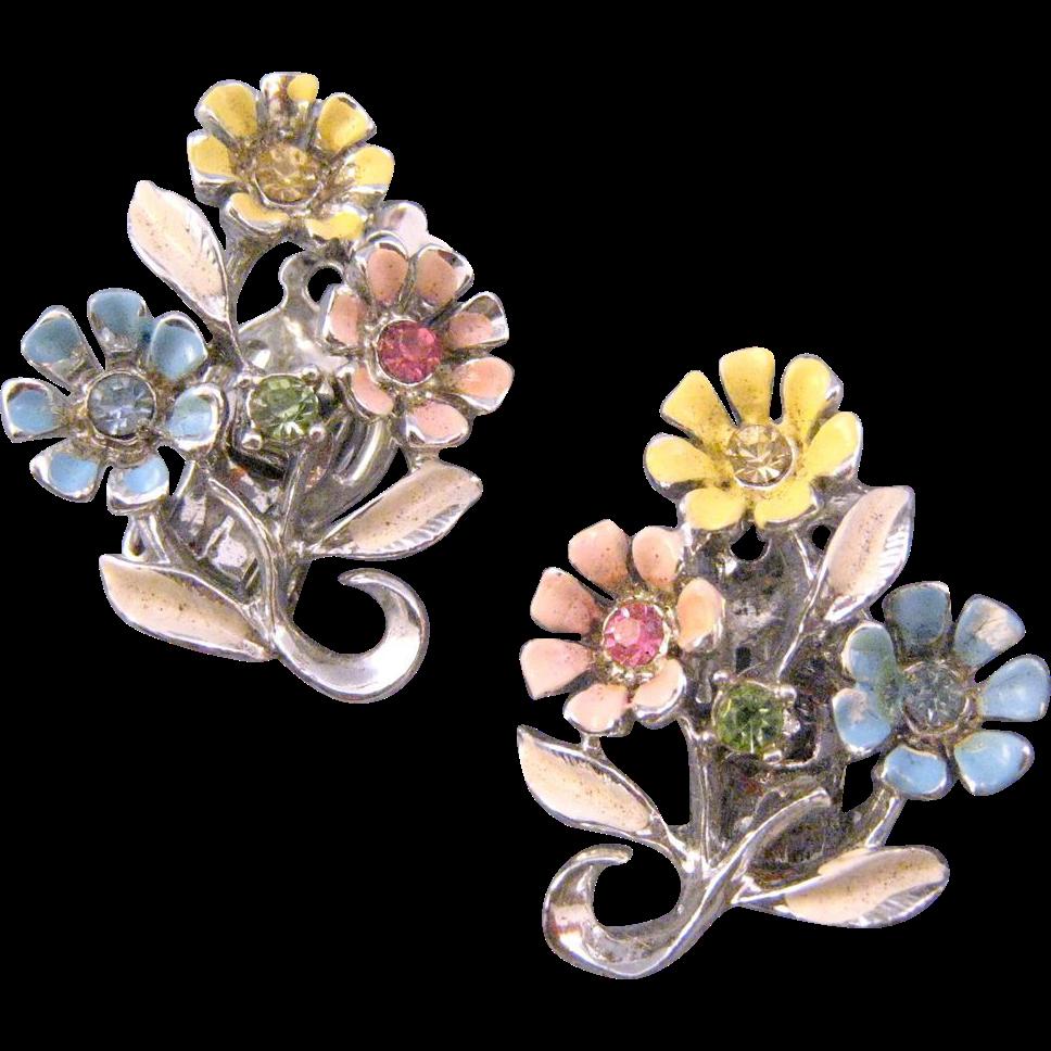 Silvertone Pastel Triple Blossom Earrings