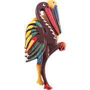 Plastic Brown and Yellow Storks Figural Brooch - Book Reference